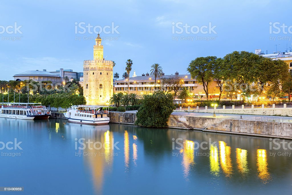 Golden Tower with cityscape Seville, Spain stock photo