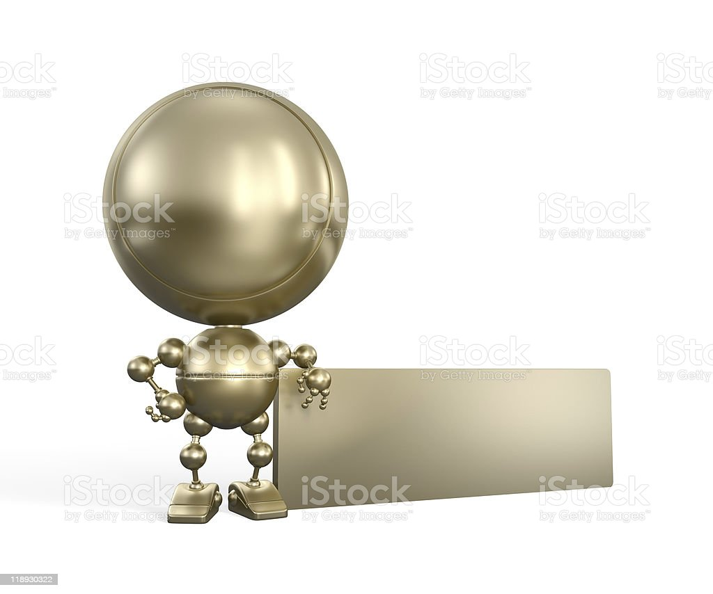 Golden toy with empty board royalty-free stock photo