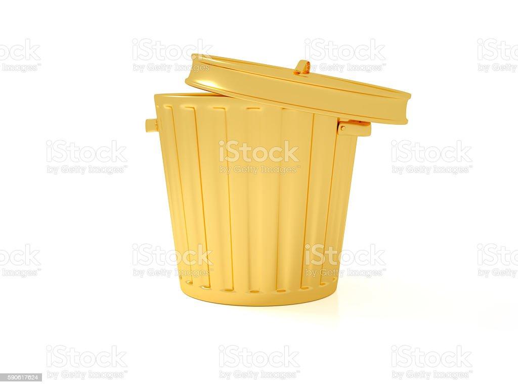 Golden Trashcan stock photo