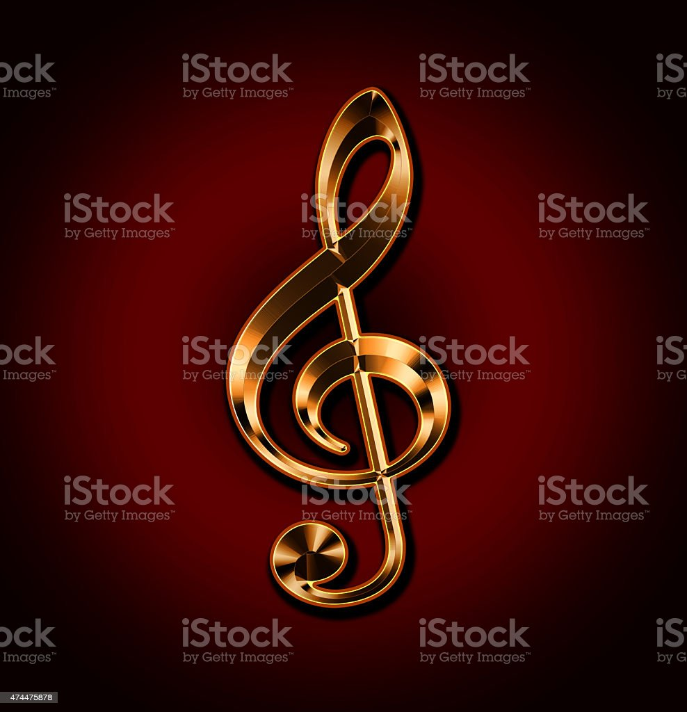 Golden treble clef on red background stock photo