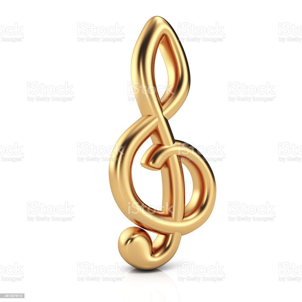 Golden treble clef stock photo