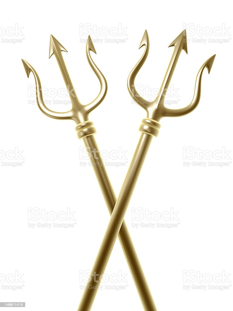 golden tridents cross stock photo