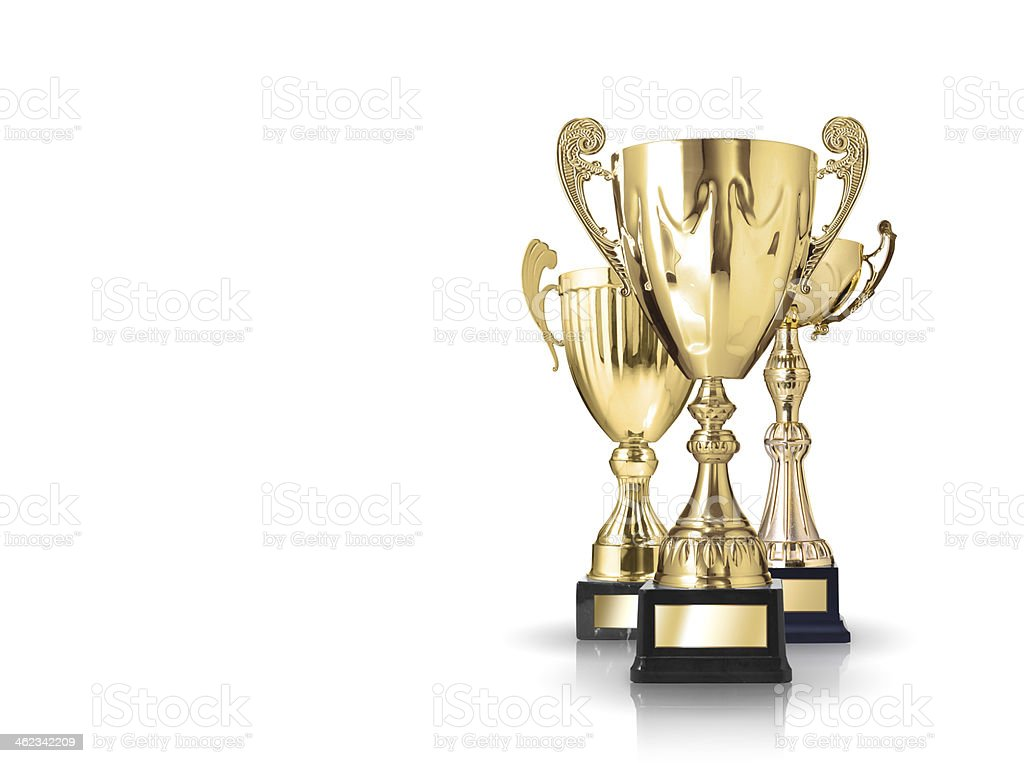 golden trophies stock photo