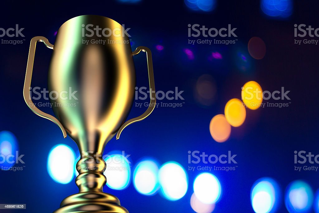 Golden trophy cup design background stock photo