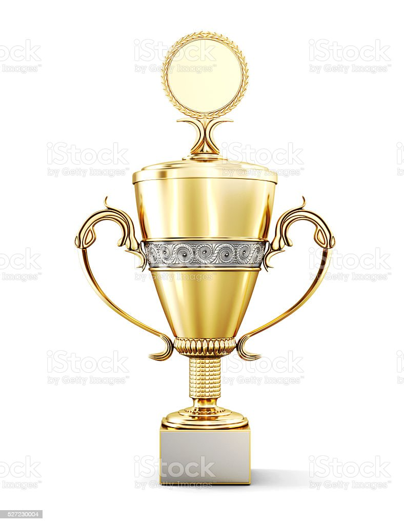 Golden trophy cup isolated on white background. stock photo