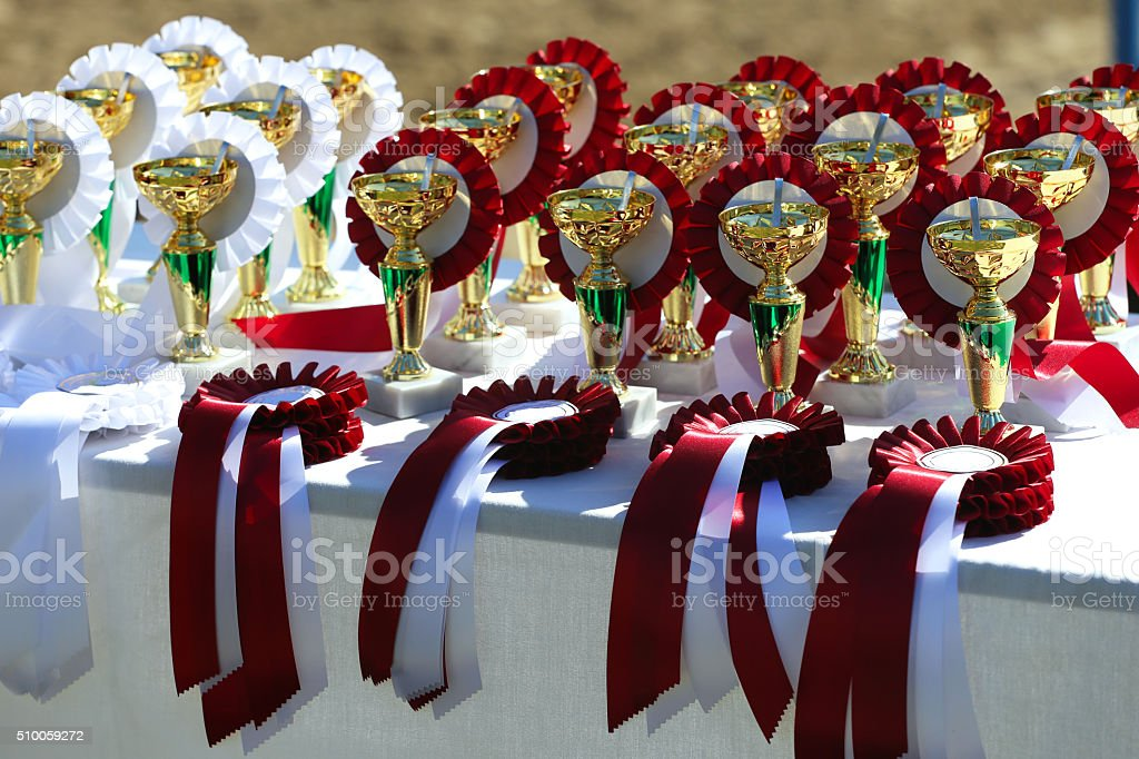 Golden trophy cups and ribbons for riders stock photo