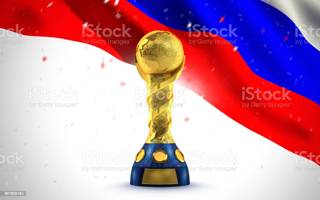 Golden trophy in the form of the globe. concept. 3d render stock photo