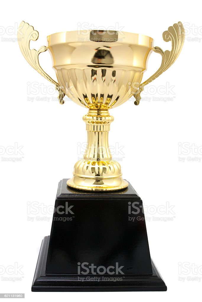 golden trophy isolated stock photo