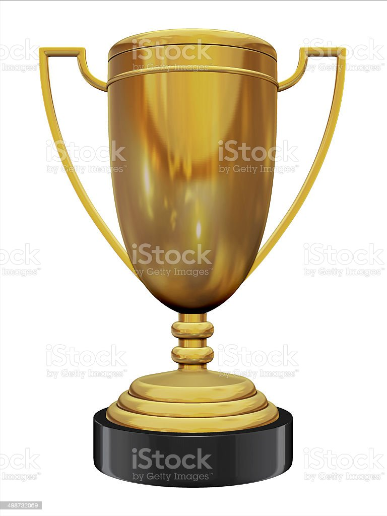 golden trophy on white background stock photo