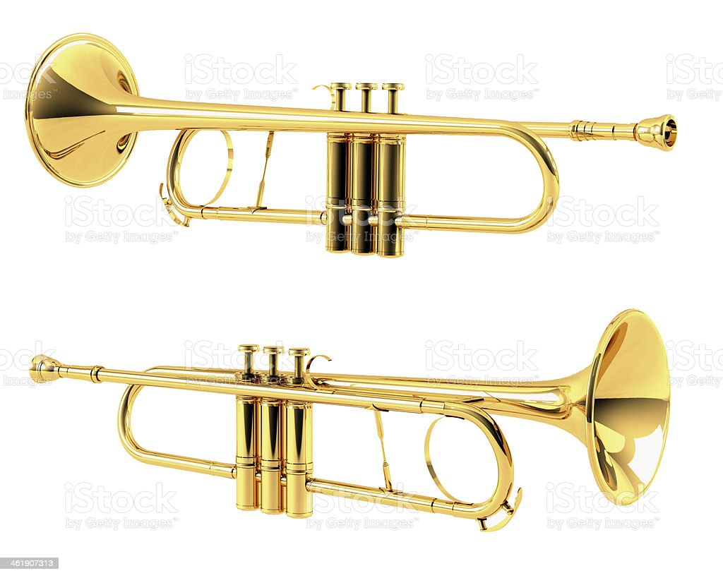 Golden trumpet isolated. Multiple angles of view stock photo