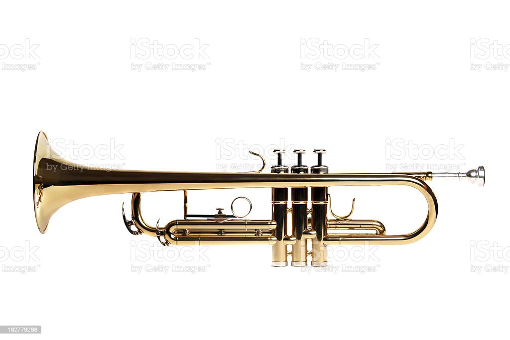 Golden trumpet isolated on white background royalty-free stock photo