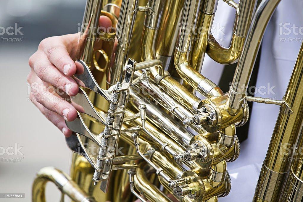 Golden tuba detail stock photo