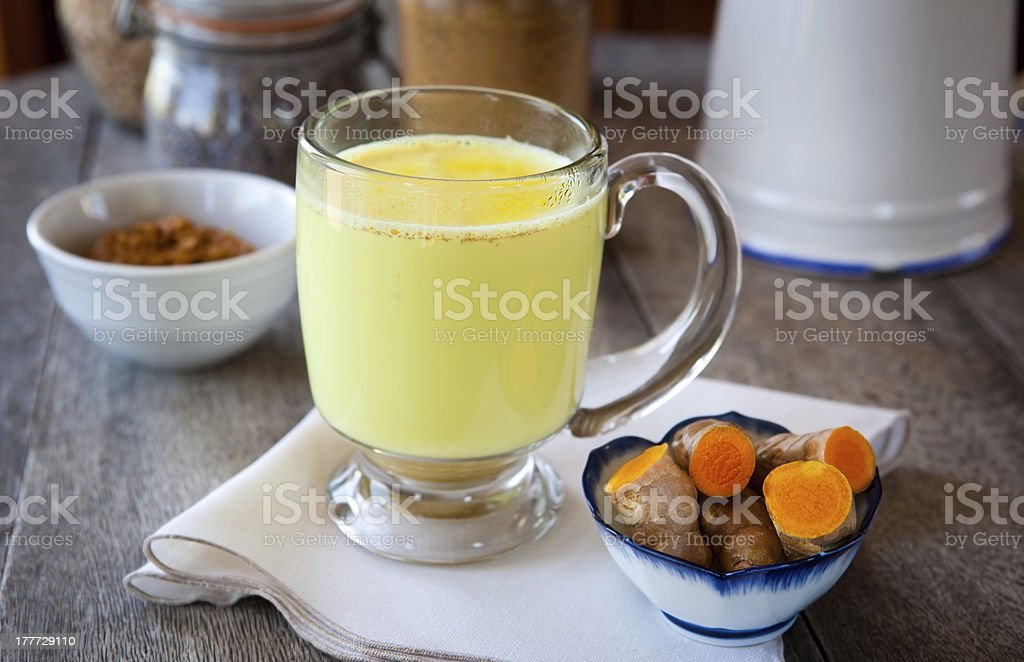 Golden turmeric milk stock photo