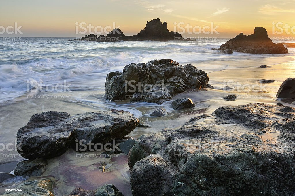 Golden twilight seascape at Big Sur, California, USA royalty-free stock photo