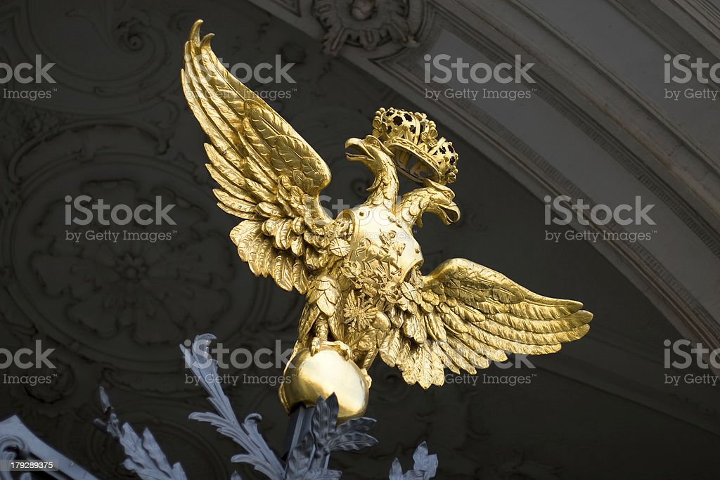 Golden two-headed eagle. royalty-free stock photo
