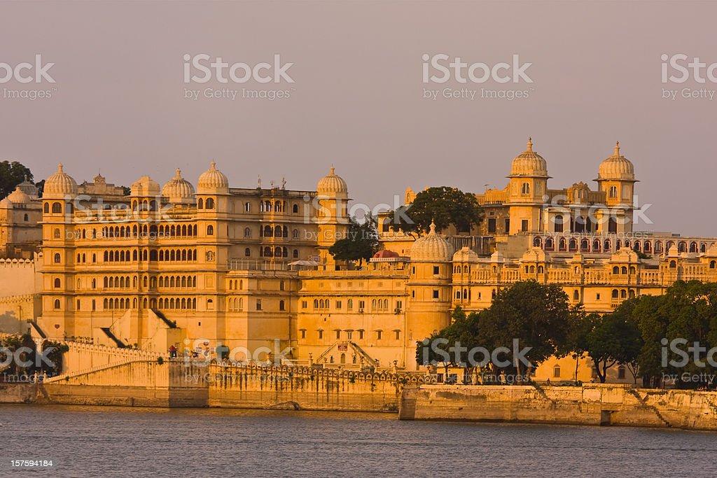 golden Udaipur City Palace royalty-free stock photo
