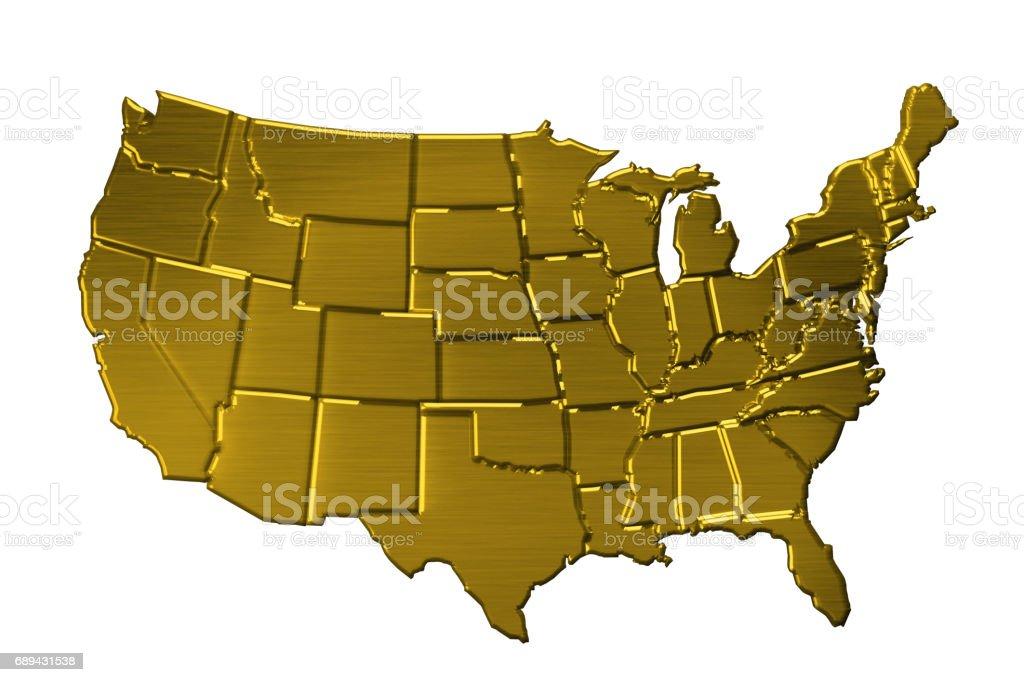 Golden United States Map. 3D Rendering Illustration stock photo