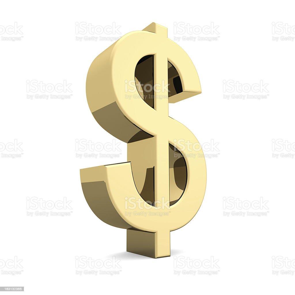 Golden U.S. dollar symbol royalty-free stock photo