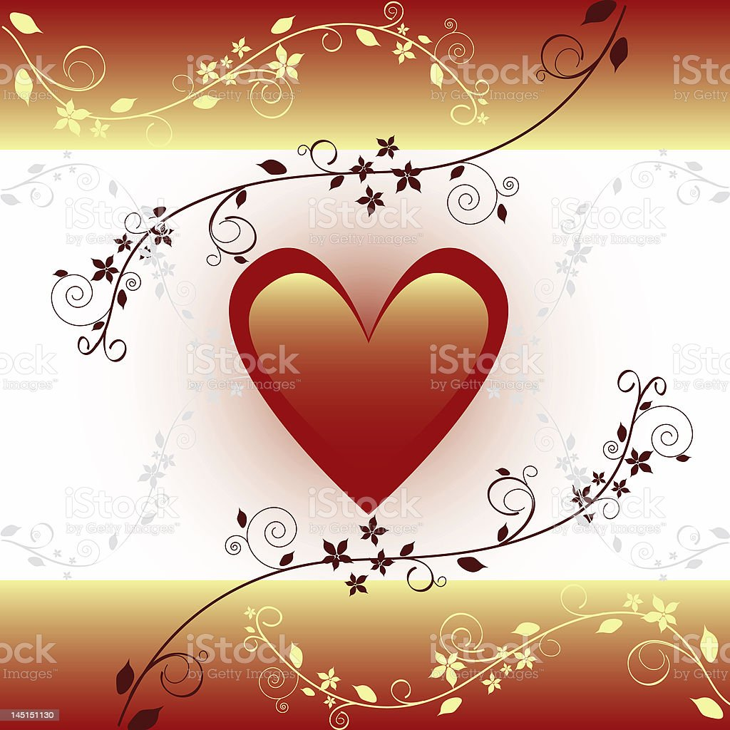 Golden Valentine's Card royalty-free stock photo
