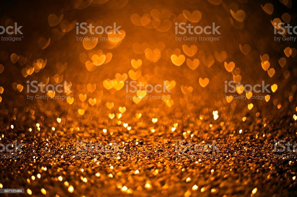 Golden Valentine's day background stock photo