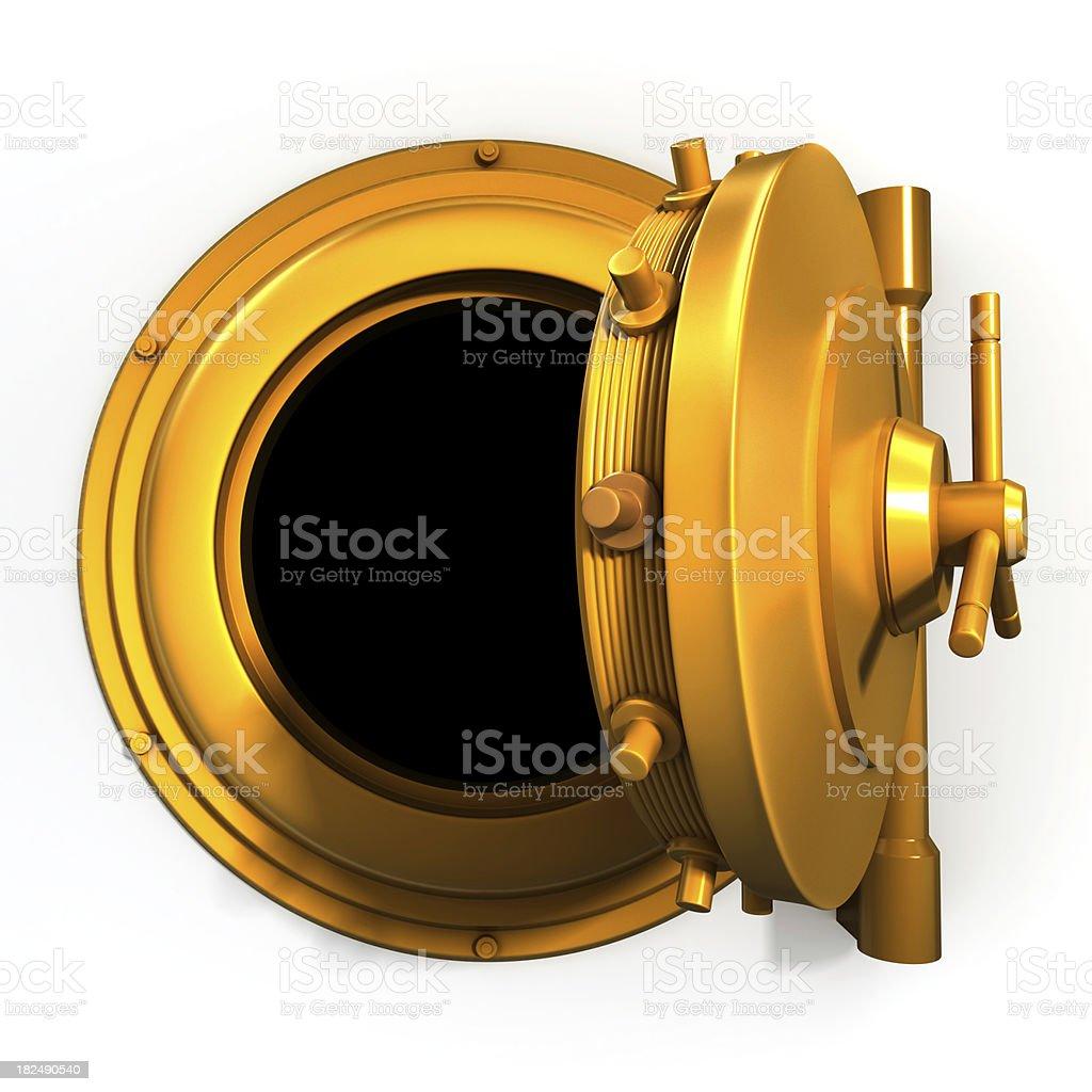 golden vault door royalty-free stock photo