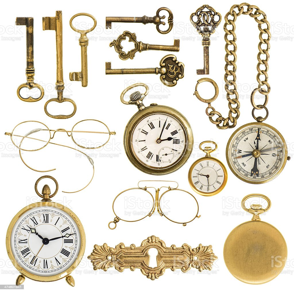 golden vintage accessories. antique keys, clock, glasses, compass royalty-free stock photo