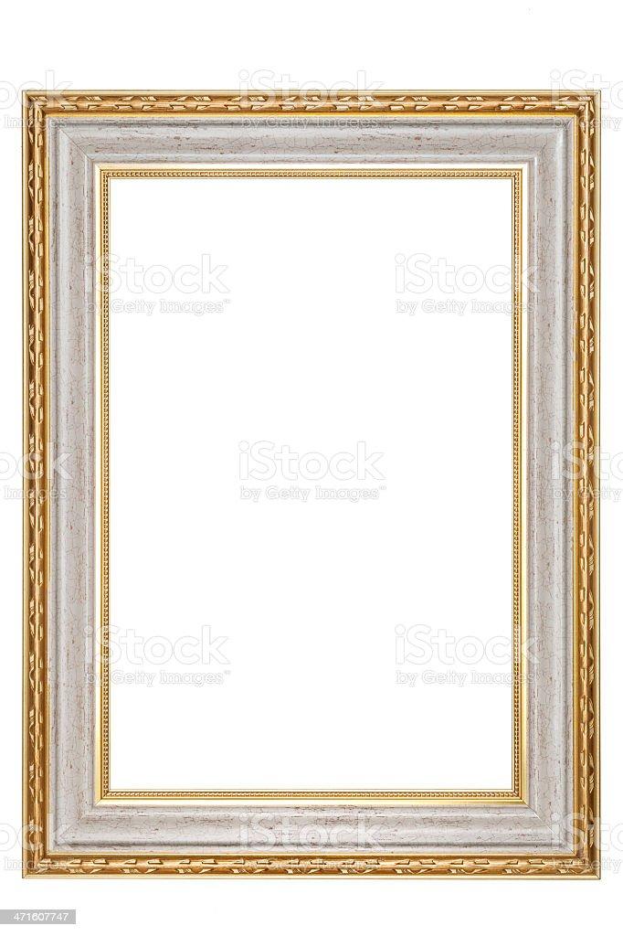 Golden vintage frame isolated on white background royalty-free stock photo