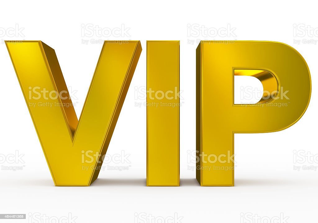 Golden VIP isolated on a white background stock photo