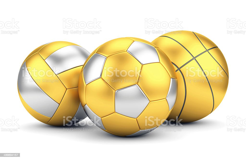 Golden volleyball, basketball and soccerball stock photo