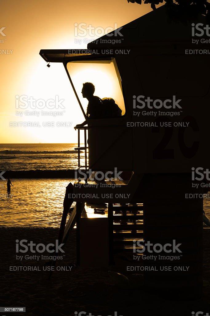 Golden Waikiki stock photo