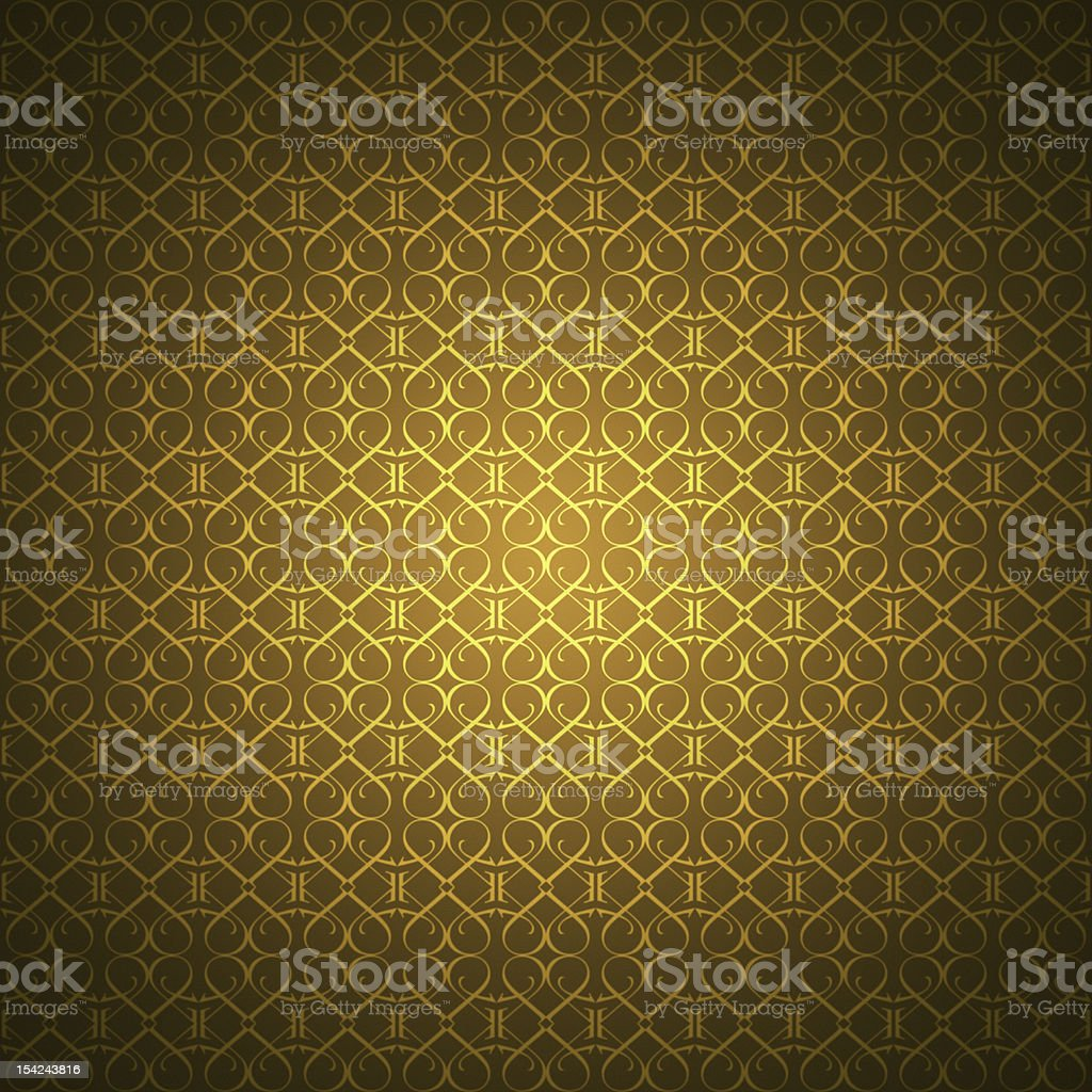 Golden wallpaper with heart-shaped ornaments royalty-free stock photo