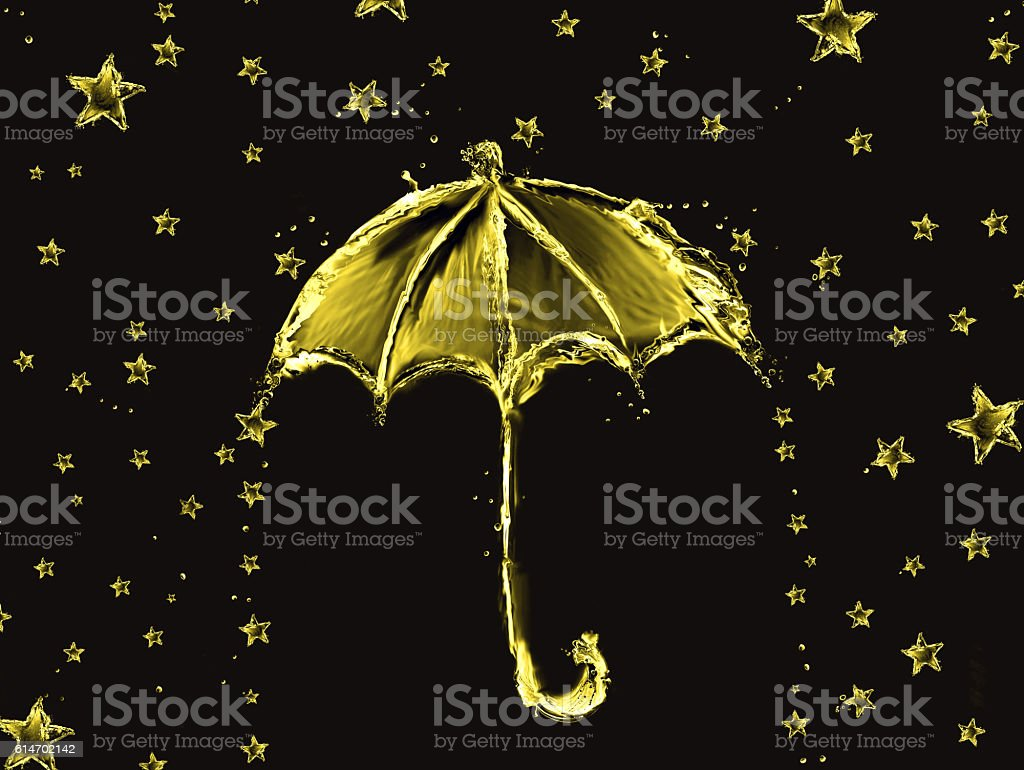 Golden Water Umbrella and Stars royalty-free stock photo