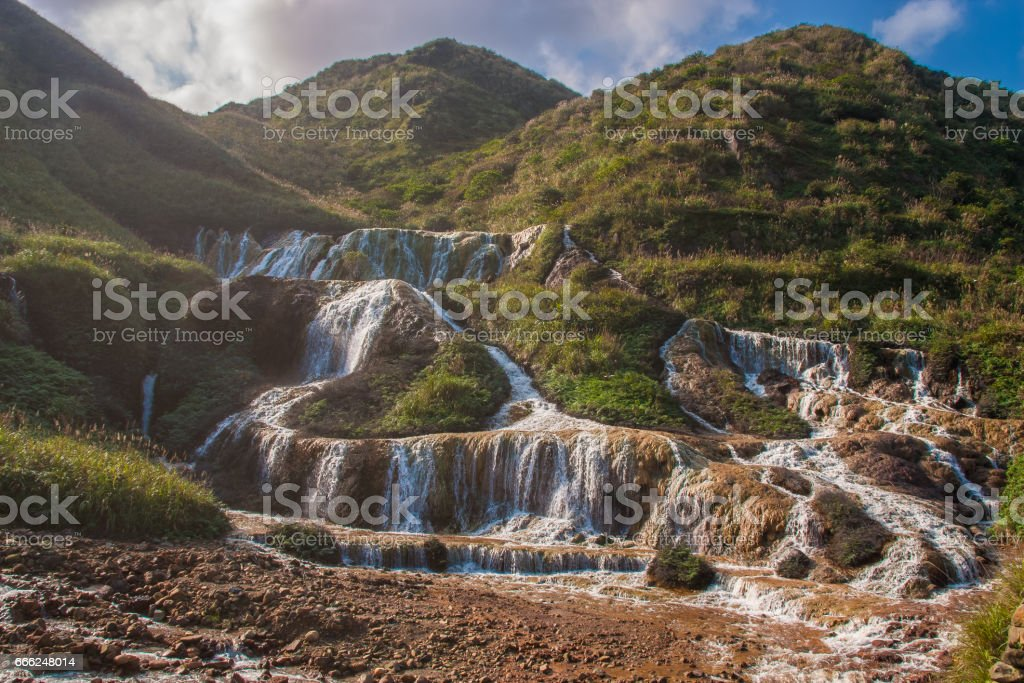 Golden Waterfall is one of the most beautiful waterfall in Taiwan stock photo