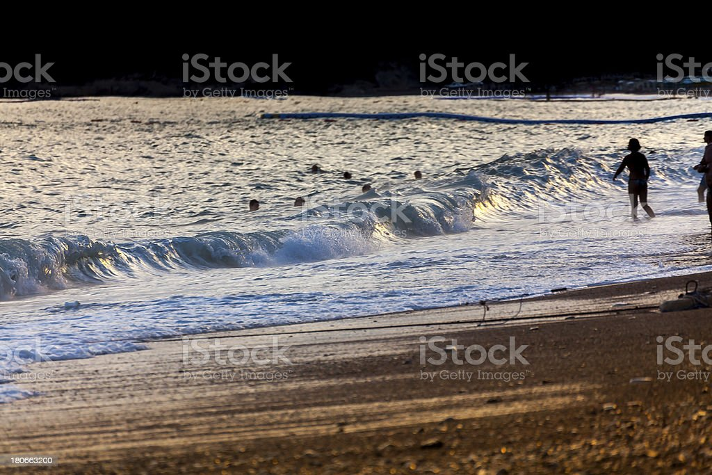 Golden waves on the beach royalty-free stock photo