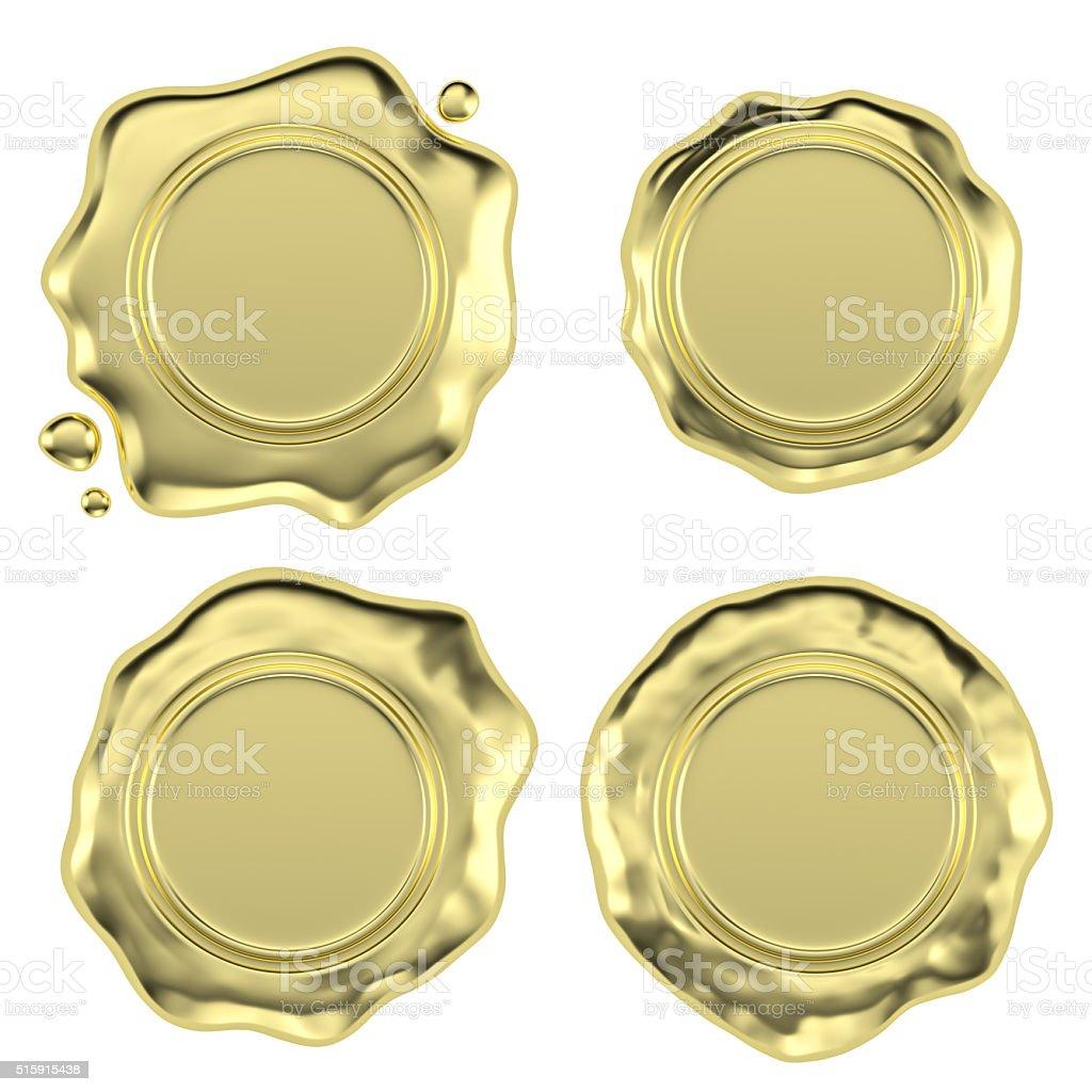 Golden wax seals set stock photo