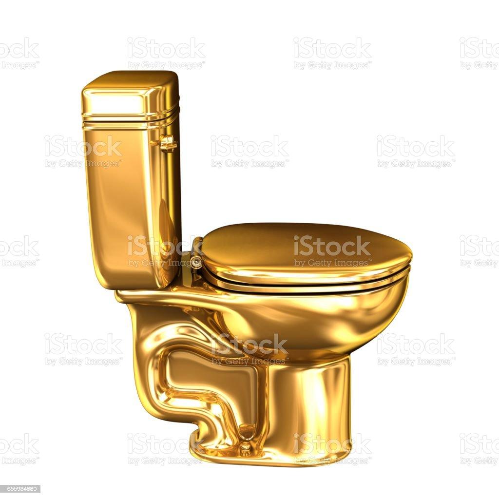 Golden WC toilet stock photo