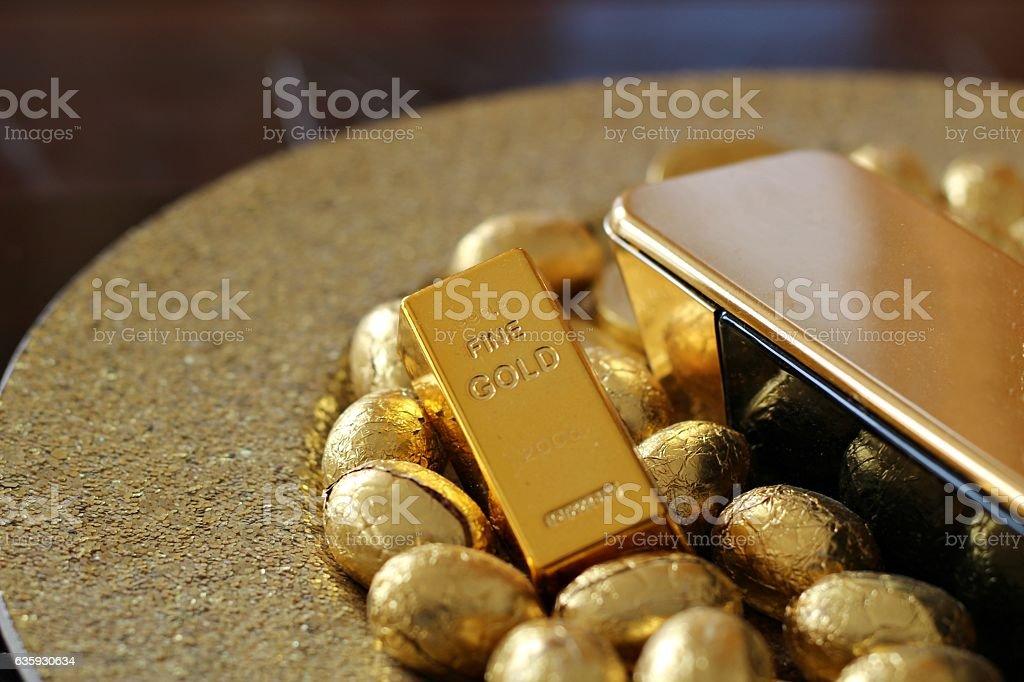 Golden wealth stock photo