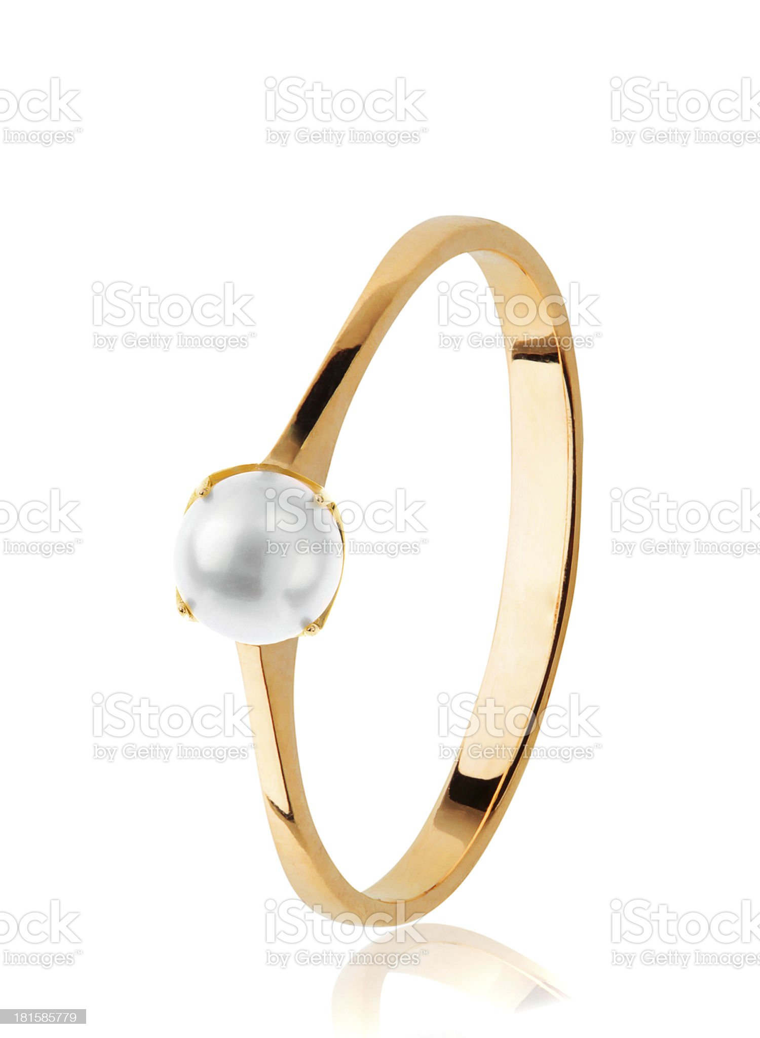 Golden Wedding Ring with pearl royalty-free stock photo