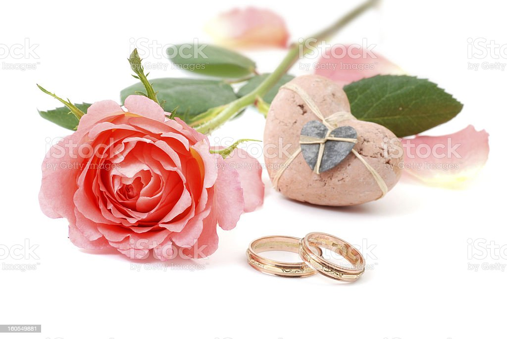 Golden wedding rings and rose royalty-free stock photo