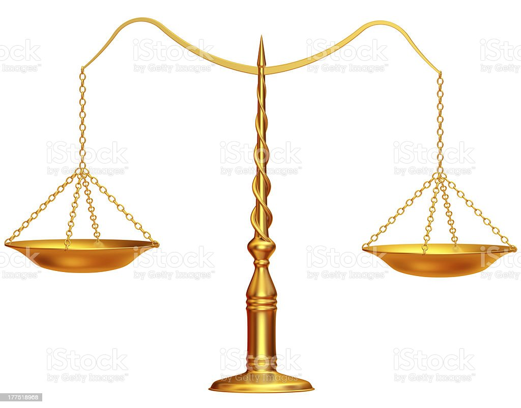 Golden weight scales royalty-free stock photo