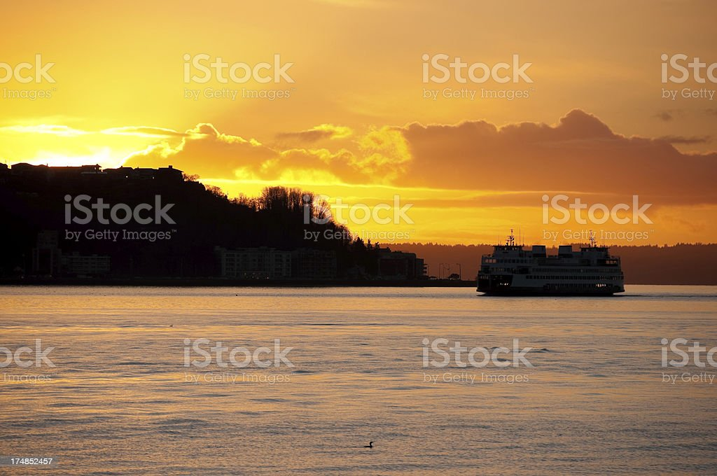 Golden West Seattle Sunset stock photo