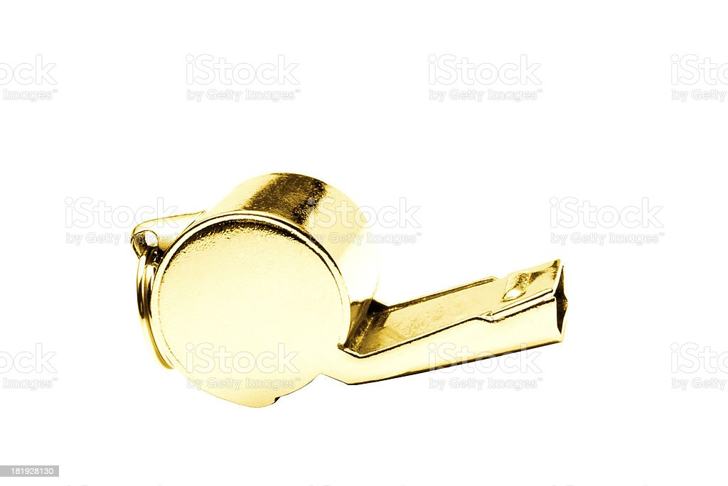 Golden whistle pendant isolated on white background royalty-free stock photo