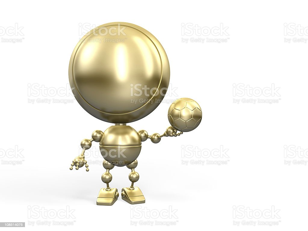 Golden winner with footbal ball royalty-free stock photo