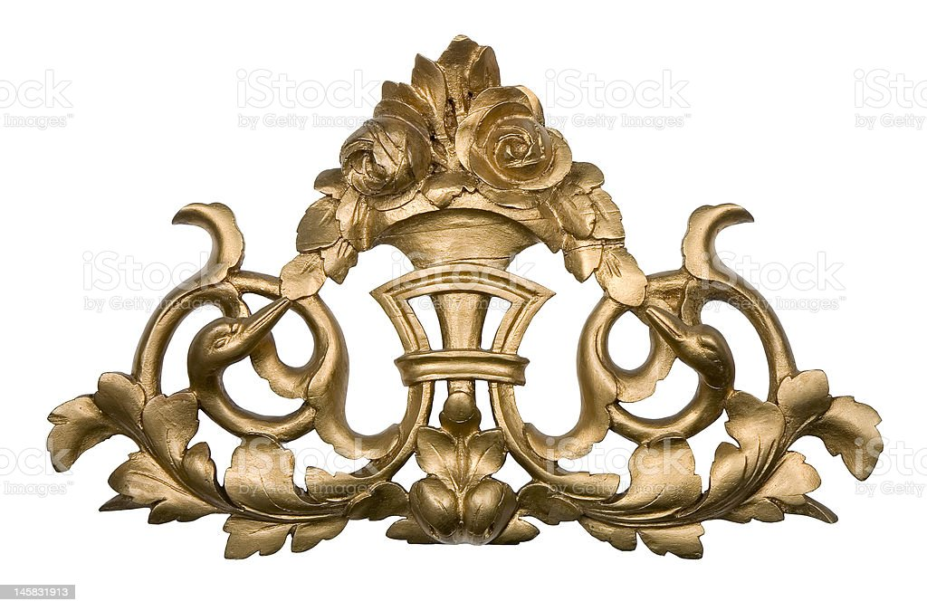 Golden wood ornament royalty-free stock photo