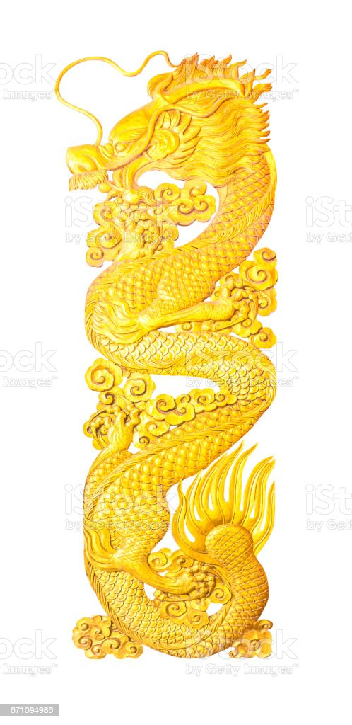 Golden wooden dragon craving isolated stock photo