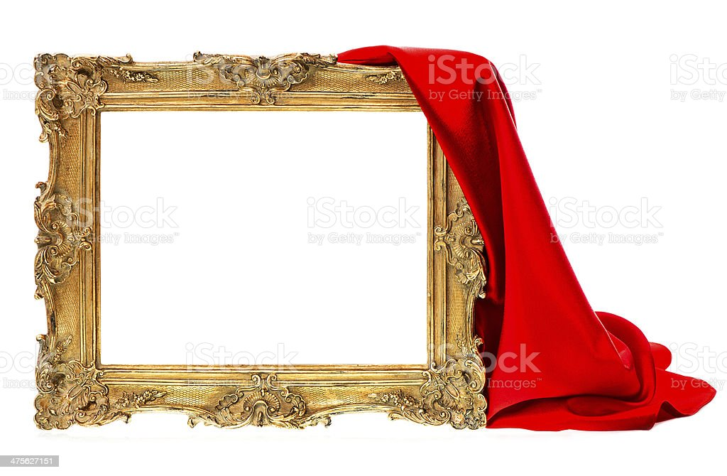 golden wooden frame with red silk decoration stock photo