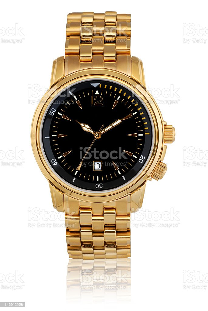 Golden wrist watch in white background stock photo