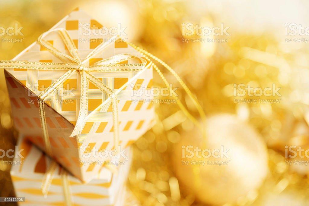 Golden Xmas Ornaments stock photo