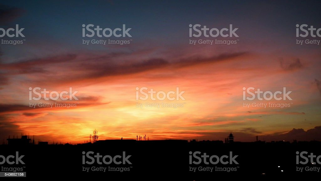Golden yellow Sky during Dawn stock photo