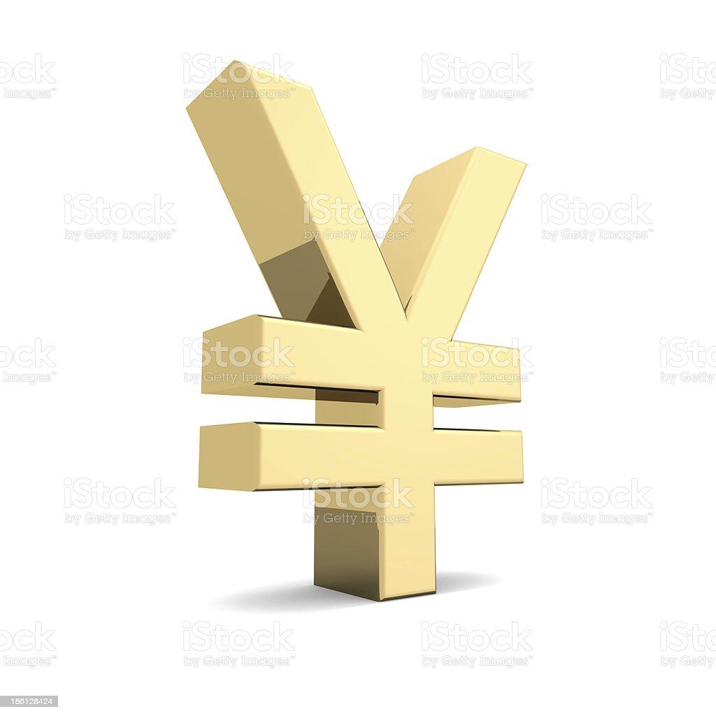 Golden yen symbol stock photo